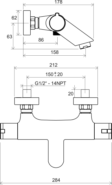 Batterie cadă de perete cu termostat TE 022.00/150