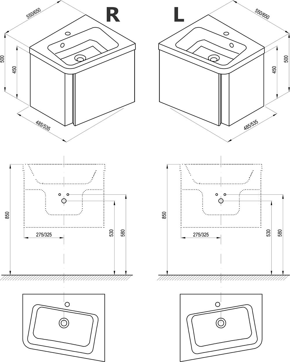 Mobilier 10° pentru chiuveta de colț