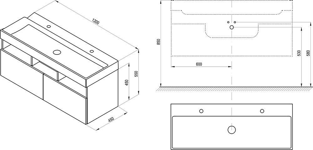 Mobilier pentru chiuvete, SD Natural 1200