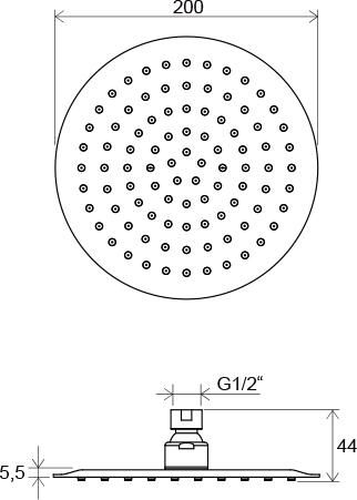 Cap de duș Chrome rotund 200 mm
